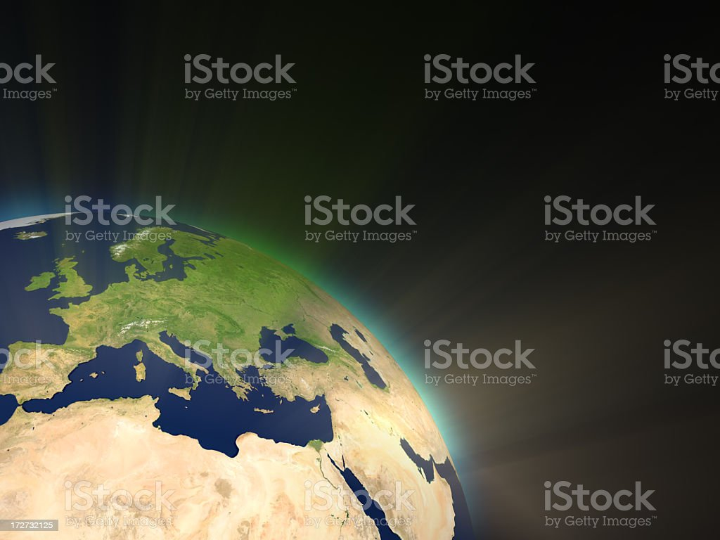 Earth with Light Rays I (Europe) royalty-free stock photo