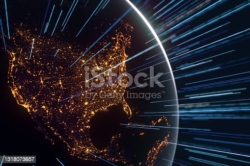 istock earth with network,3d render 1318073657
