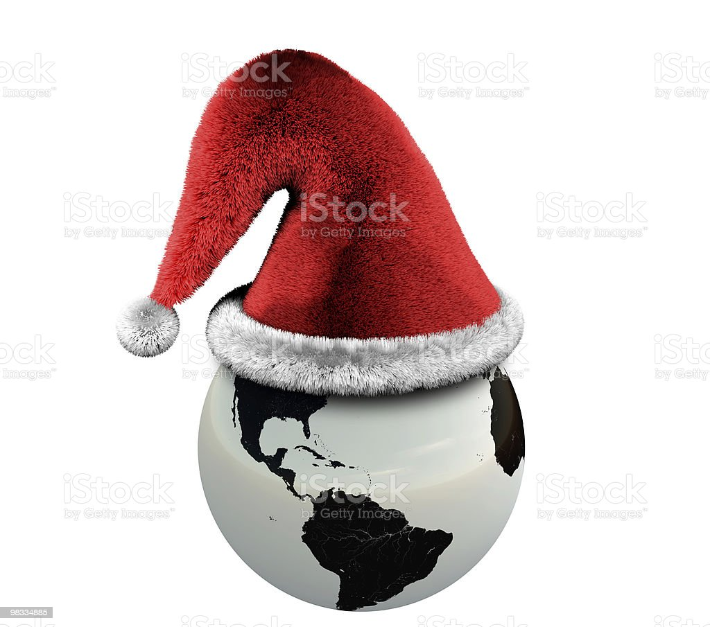 Earth with New Year Hat royalty-free stock photo