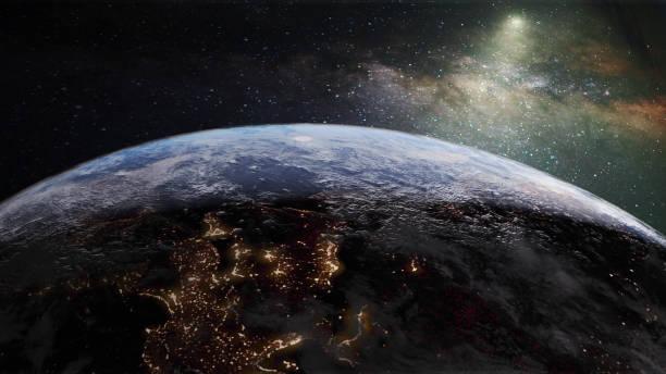 밤 빛과은 하 수 지구 - 인공위성 뷰 뉴스 사진 이미지