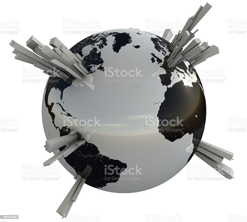 earth with skyscrapers royalty-free stock photo