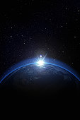 Earth with stars, digitally generated image, all graphics elements are my own design/photo.