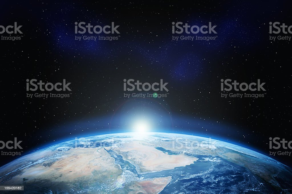 Earth with stars stock photo