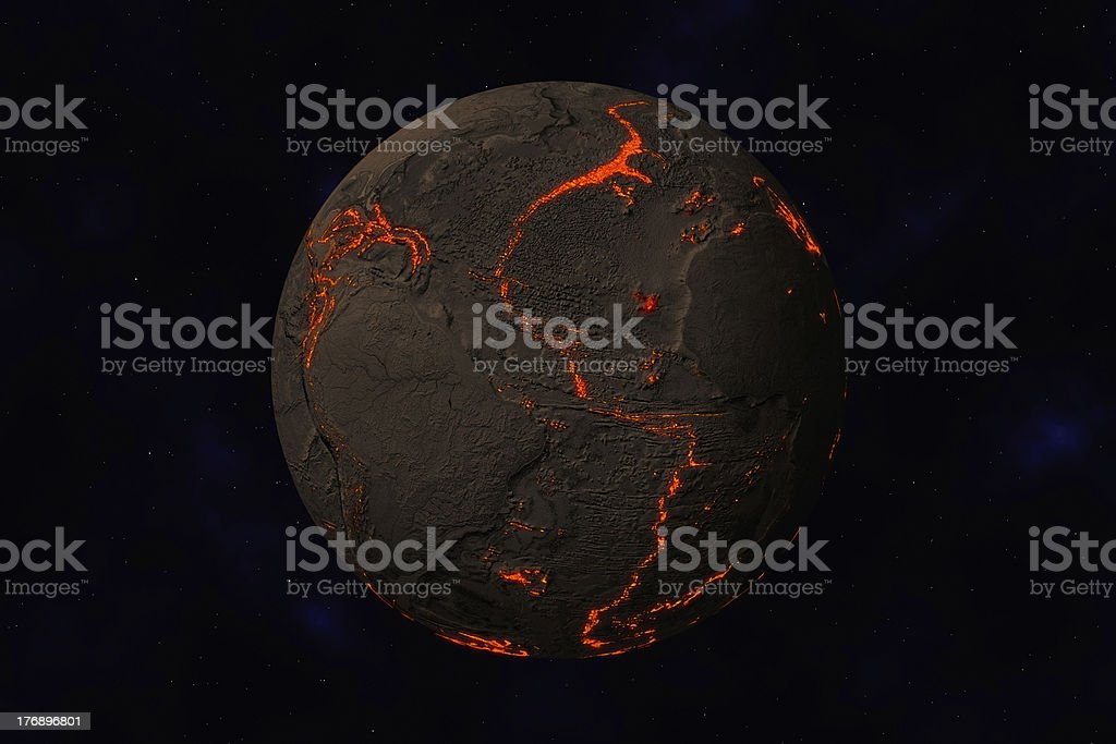 Earth without water and plants, North - South America stock photo