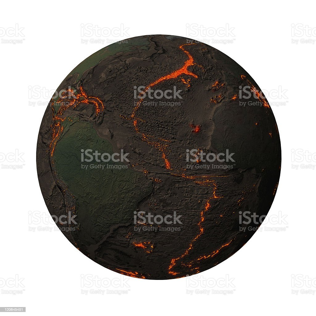 Earth without water and plants, North-South America stock photo