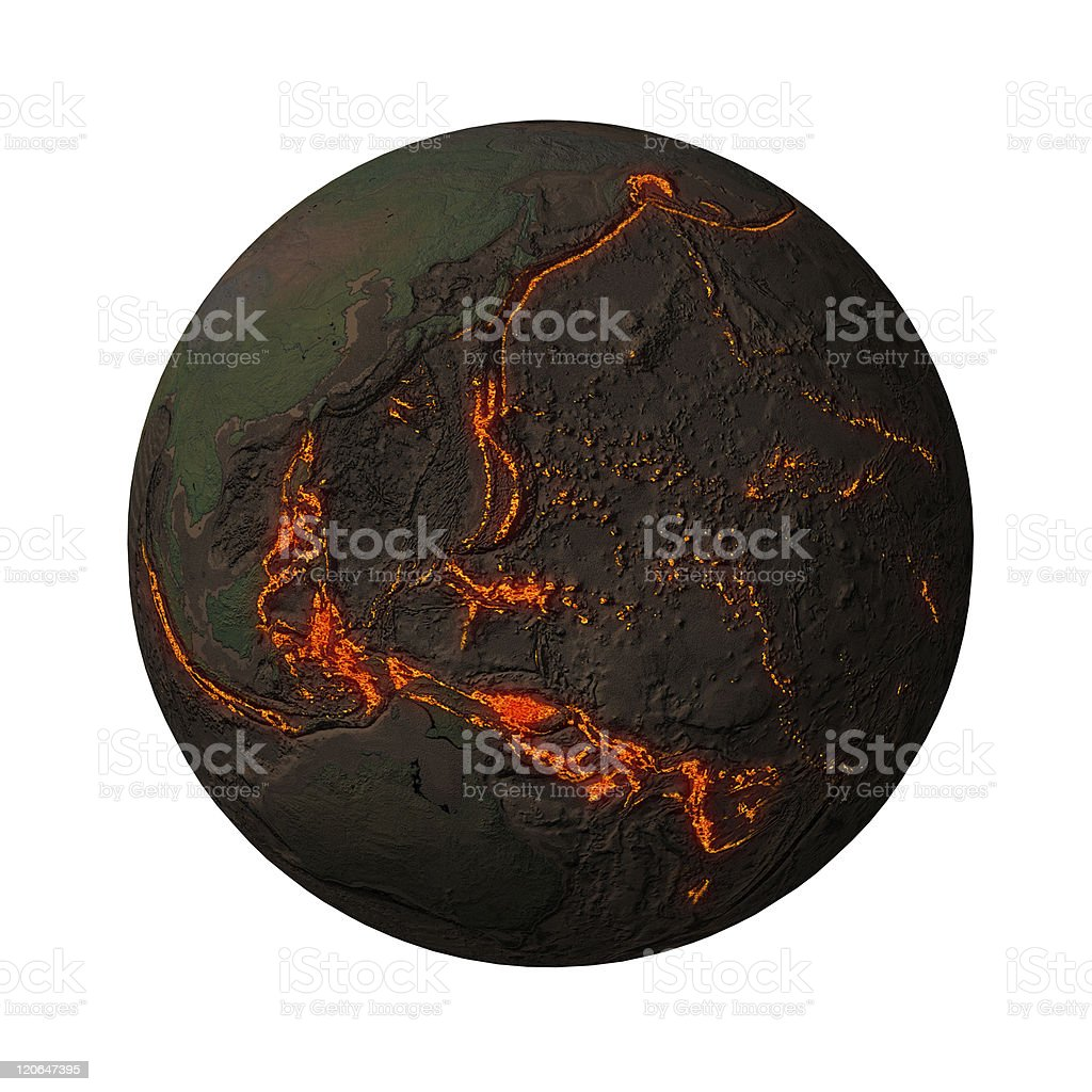 Earth without water and plants, pacific stock photo