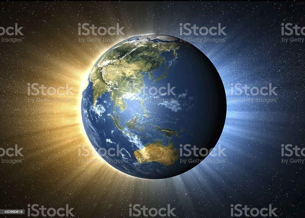 Earth-Asia Pacific Region stock photo