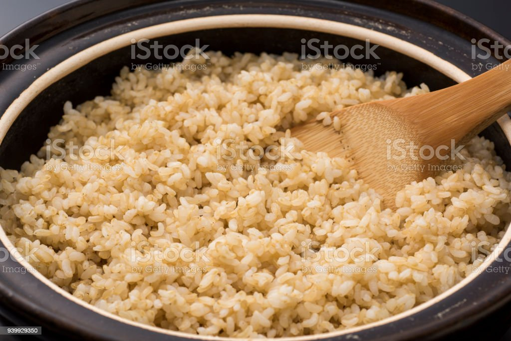 Earthen pot rice, japanese traditional cooking stock photo