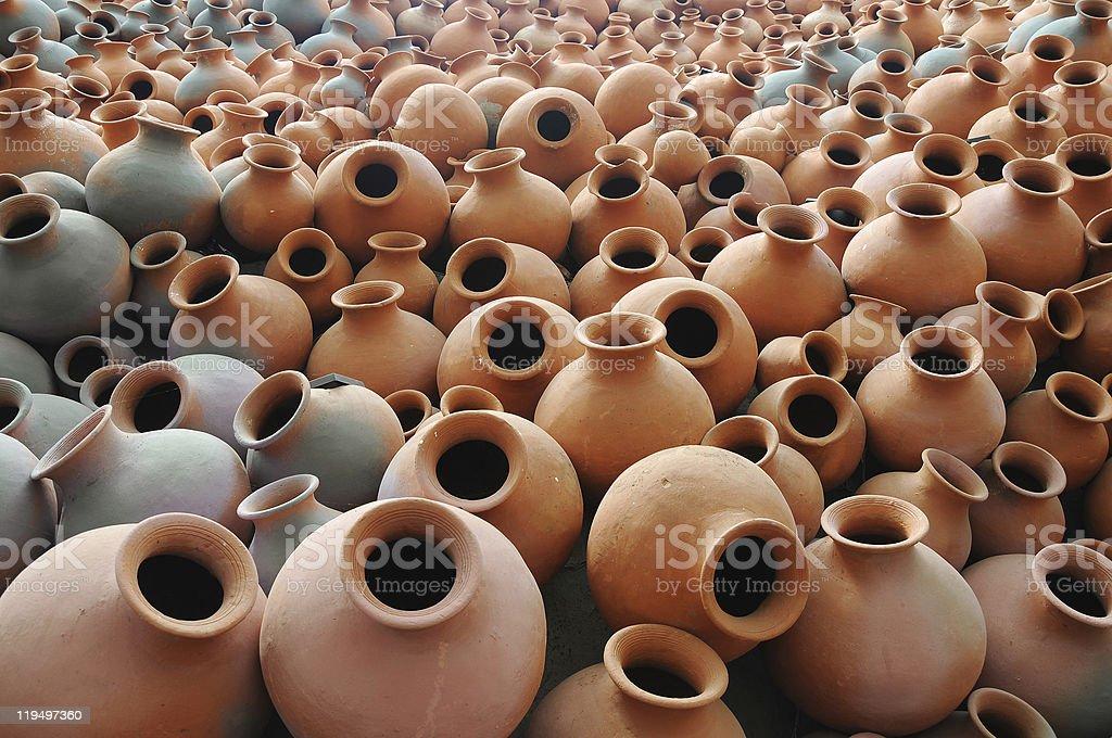 Earthen pots stock photo