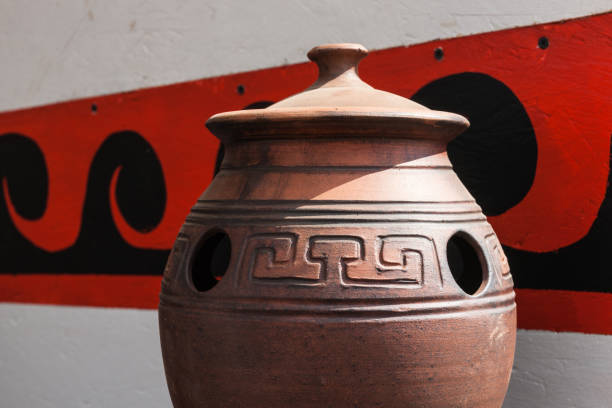 Earthenware and ancient Greek ornament stock photo