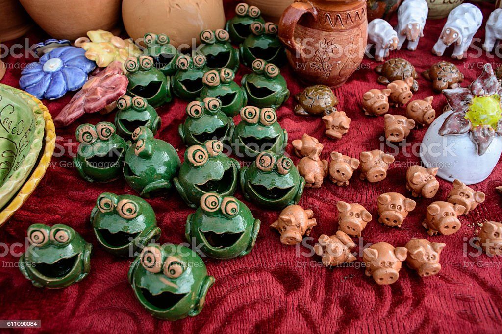 Earthenware and figurines stock photo
