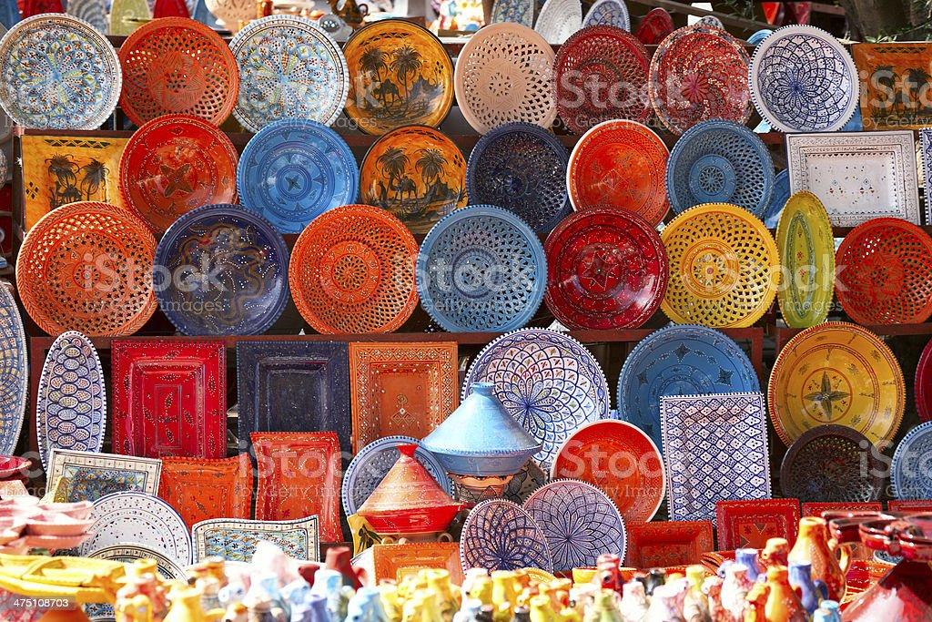 earthenware in tunisian market stock photo