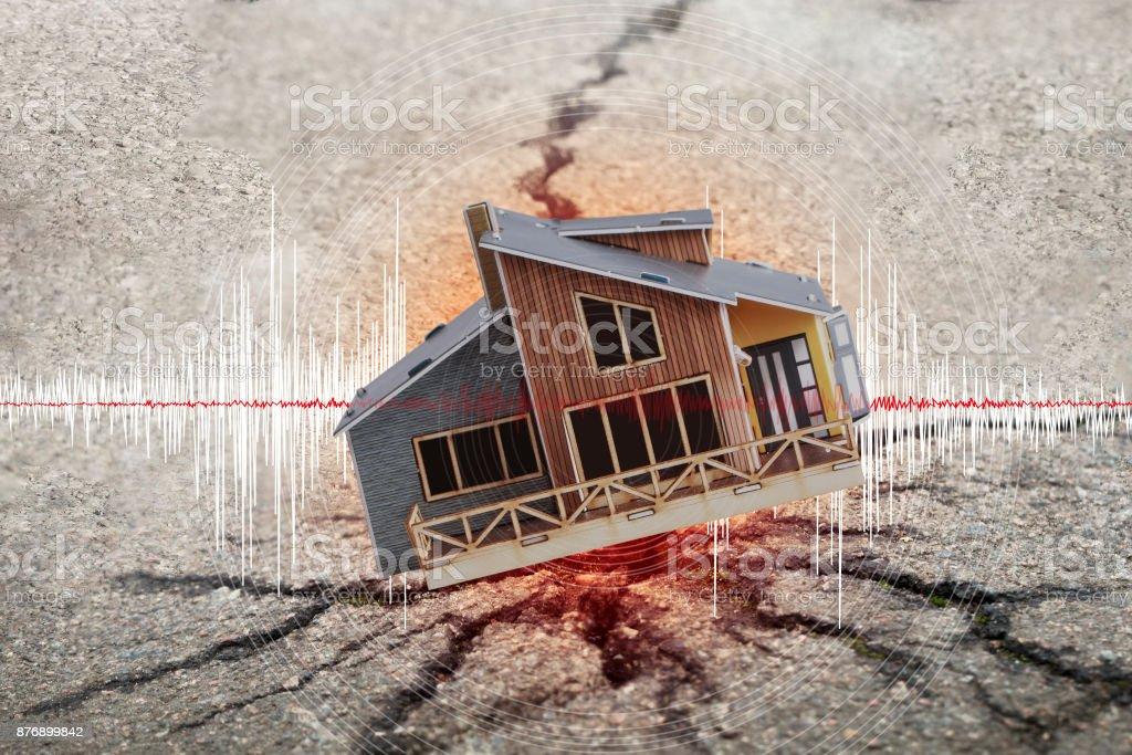 Earthquake crisis house risk insurance concept stock photo