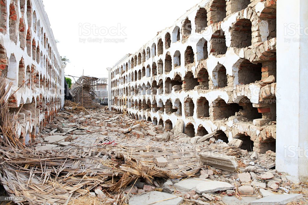 Earthquake Damage to Cemetery in Ica, Peru royalty-free stock photo