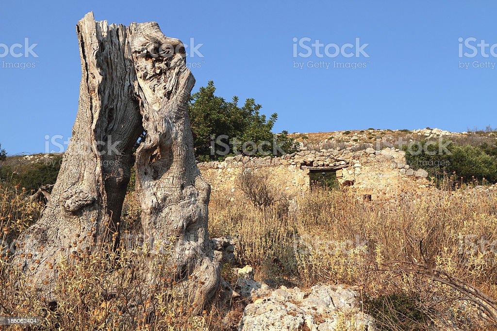 Earthquake Damaged House, Old Skala, Kefallonia, Greece stock photo