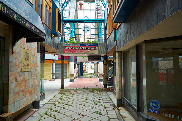 Earthquake Damaged Shopping Centre In Christchurch stock photo
