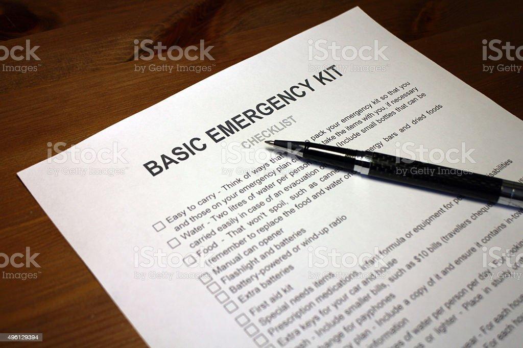 Earthquake Emergency Kit Checklist stock photo