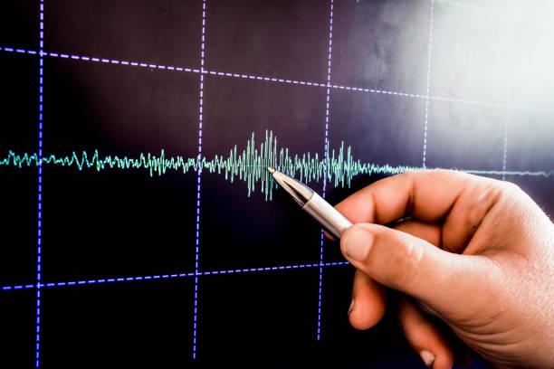 earthquake graph stock photo