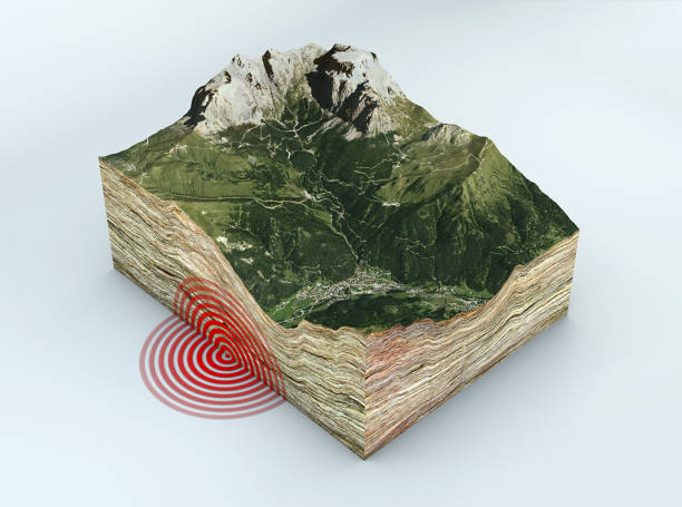 earthquake ground section, shake, epicenter and subsoil. mountains and reliefs - crosta geologia foto e immagini stock