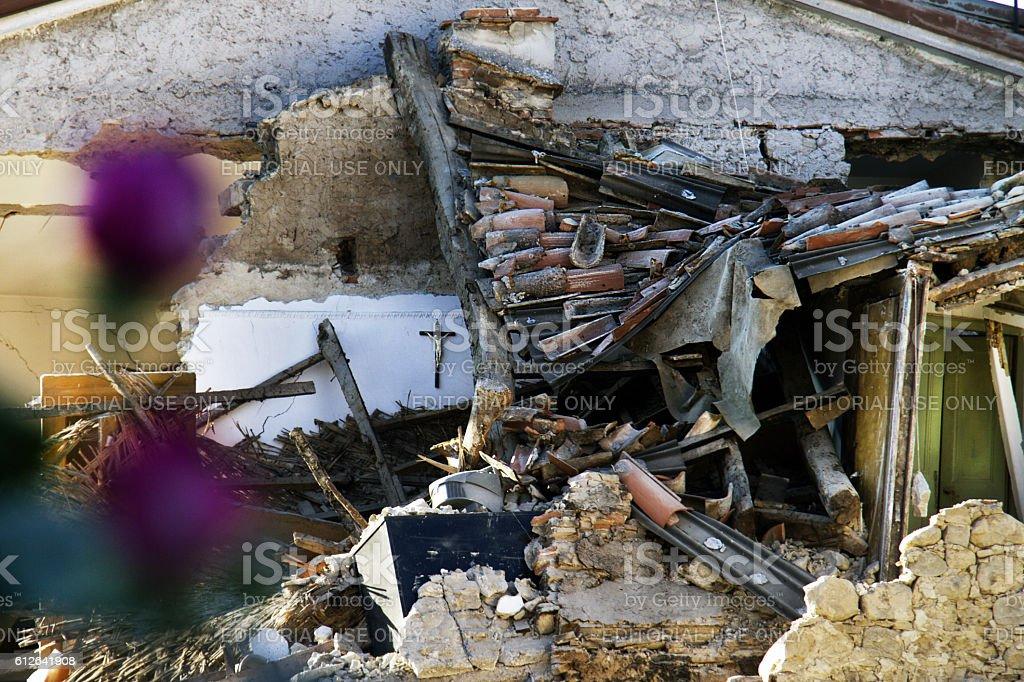 Earthquake in Amatrice, Italy stock photo