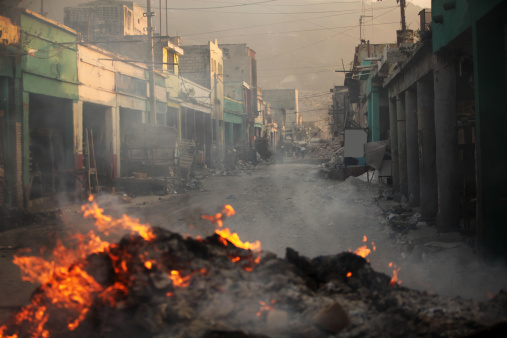 Destroyed buildings after earthquake in Haiti
