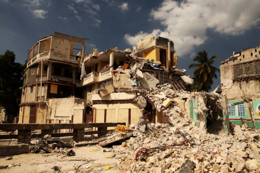 Destroyed building after earthquake in Haiti