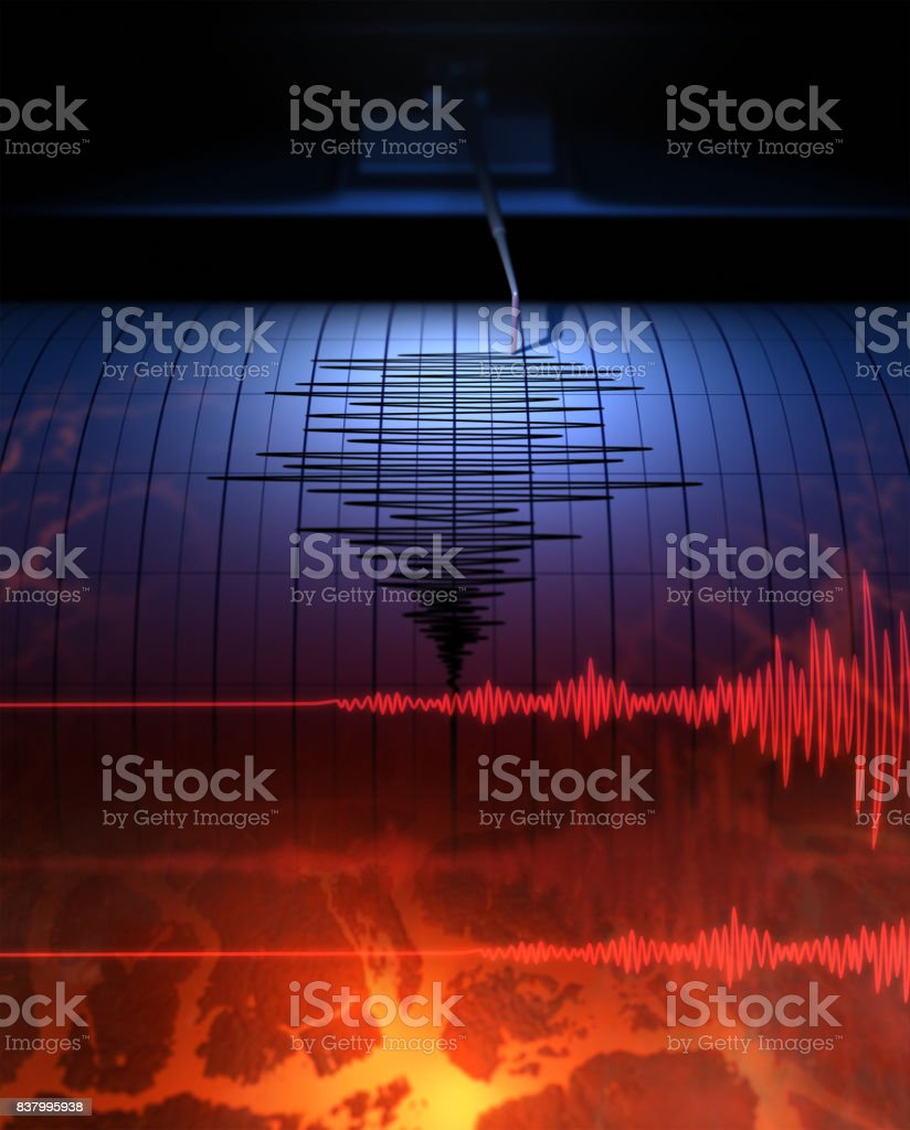 Earthquake Seismograph with paper in action and earthquake - 3D Rendering Accidents and Disasters Stock Photo