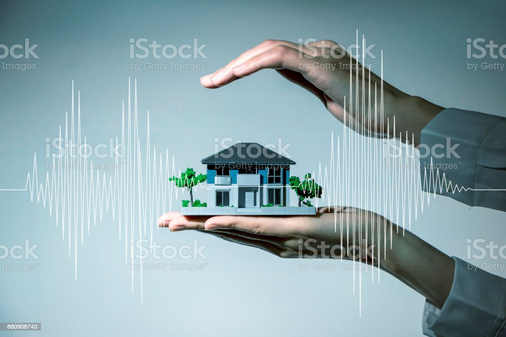 earthquake resistant  house design concept stock photo