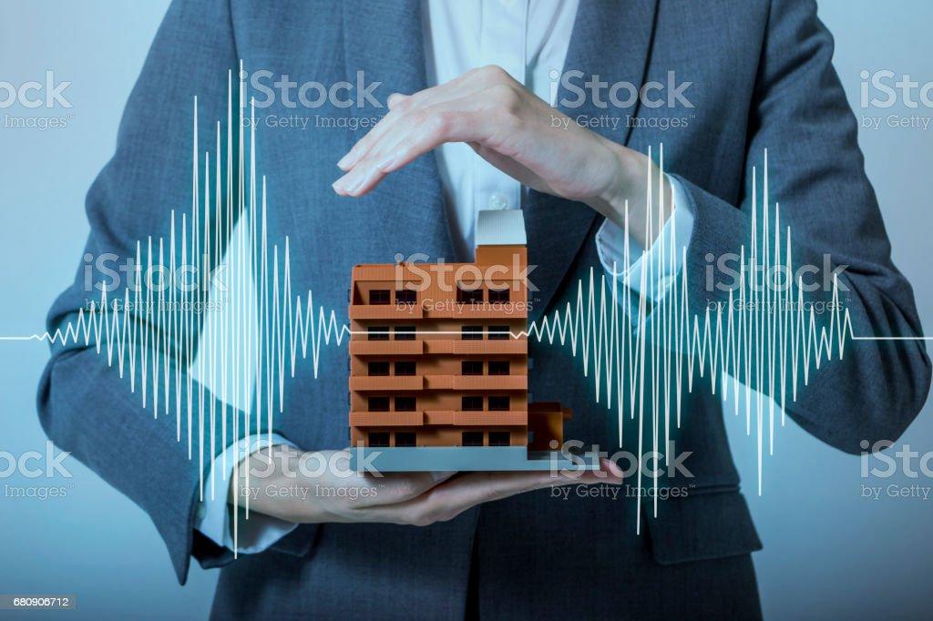 earthquake-resistant  house design concept stock photo