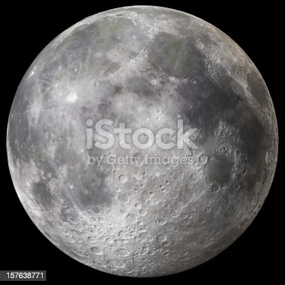 Super high quality (67 Megapixels!) full moon with extreme level of detail and clearly visible craters on the surface and peaks on the grazing angle.