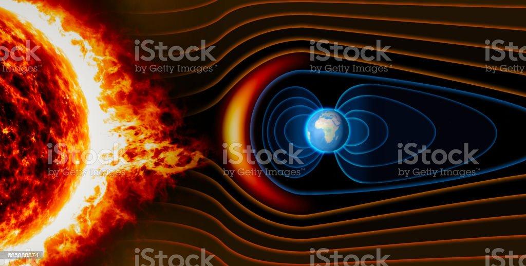 Magnetfeld der Erde, die Erde, der Sonnenwind, der Fluss der Partikel – Foto