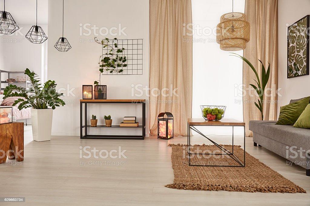 Earth's tones home interior stock photo