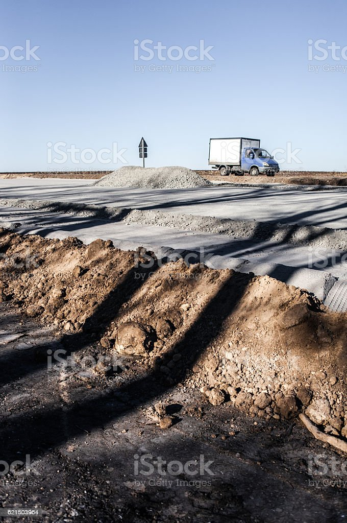 Earthworks on the highway photo libre de droits