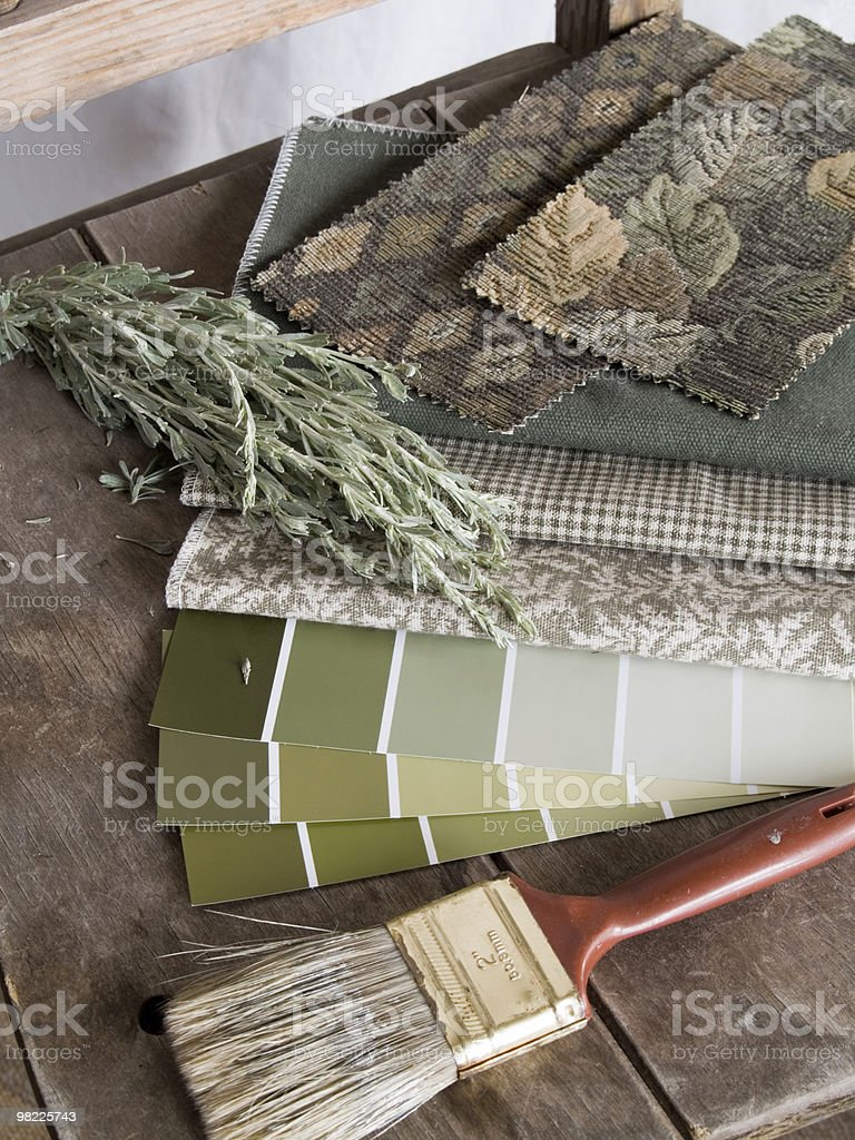 Earthy green interior decoration plan royalty-free stock photo