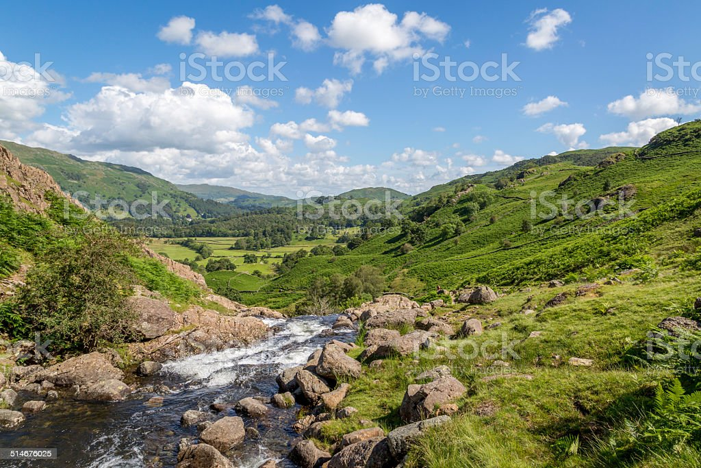 Easedale Beck looking towards Grasmere stock photo