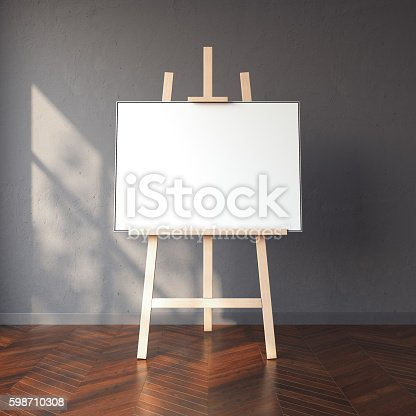 1021586250istockphoto Easel and blank white canvas in bright interior. 3d rendering 598710308