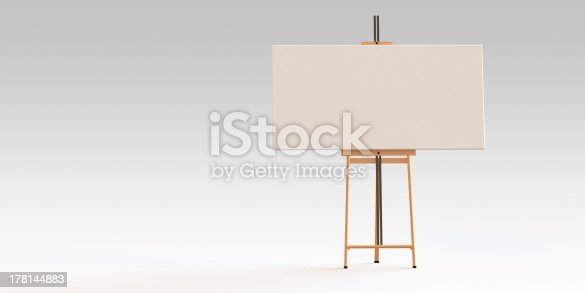 istock Easel and canvas board isolated 178144883