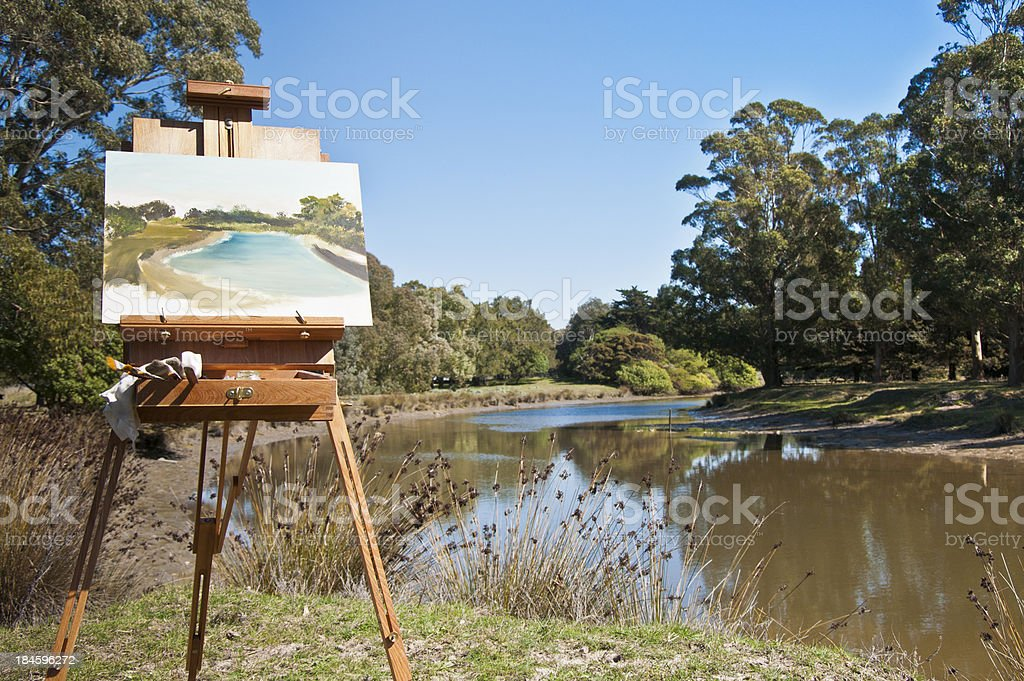 Easel and landscape stock photo