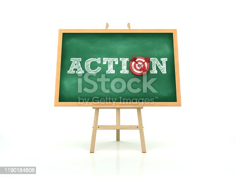Easel with ACTION Word and Target on Chalkboard Frame - 3D Rendering