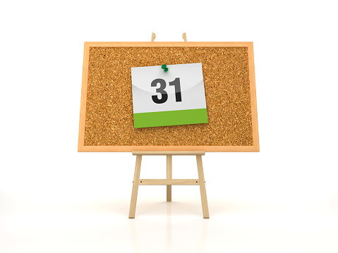 istock Easel with DAY 31 Calendar on Corkboard Frame - 3D Rendering 1186678043