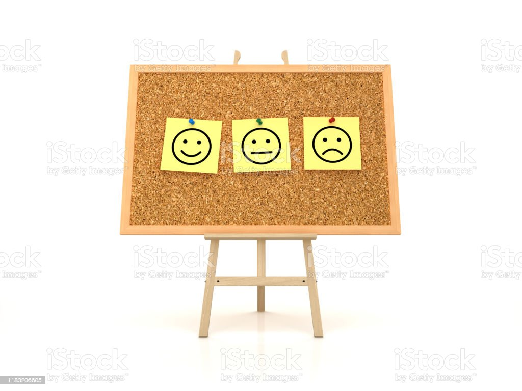 Easel With Emoticons Sticky Notes On Corkboard Frame 3d Rendering