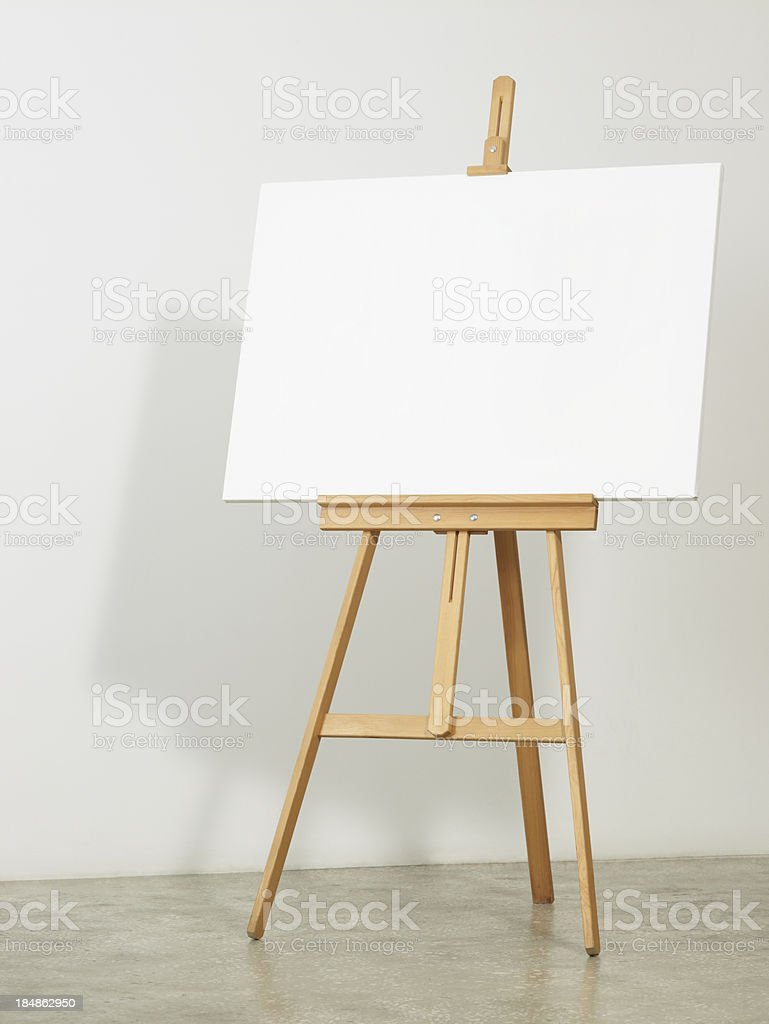 Easel with horizontal canvas stock photo