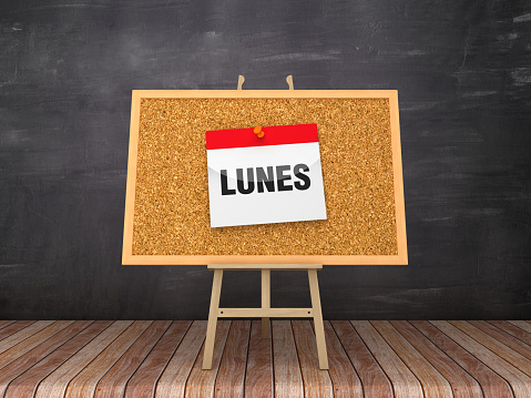 Easel with LUNES Calendar - Spanish Word - Chalkboard Background  - 3D Rendering