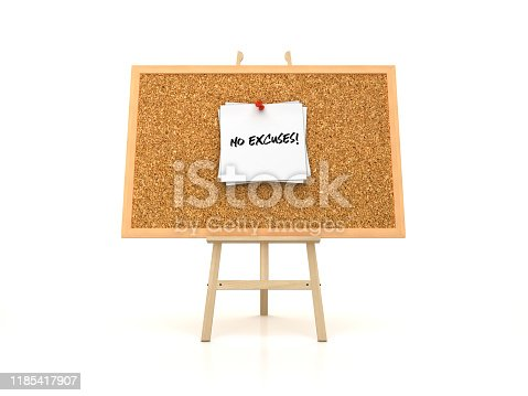 Easel with NO EXCUSES! Sticky Note on Corkboard Frame - 3D Rendering