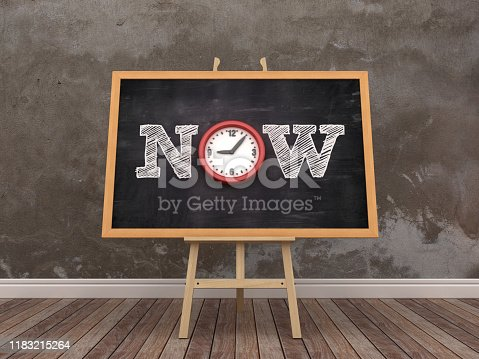 istock Easel with NOW Word and Clock in Room - 3D Rendering 1183215264