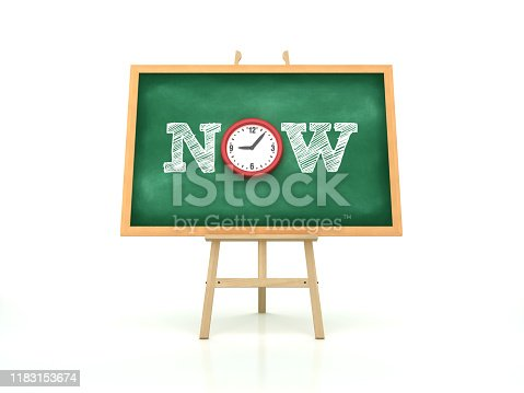 istock Easel with NOW Word and Clock on Chalkboard Frame - 3D Rendering 1183153674