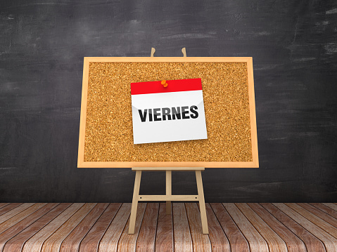 Easel with VIERNES Calendar - Spanish Word - 3D Rendering