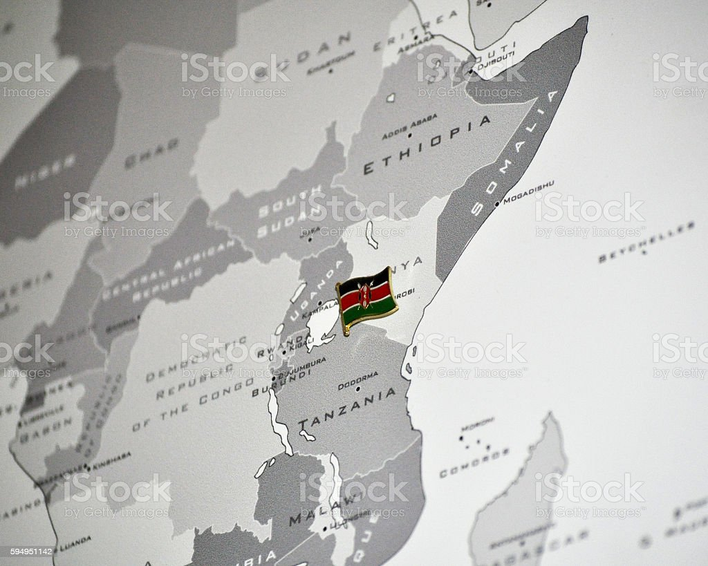 East Africa Map With Kenya Flag Stockfoto und mehr Bilder ...