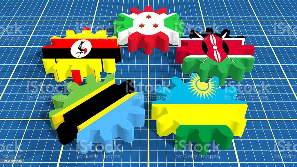 East African Community members national flags stock photo