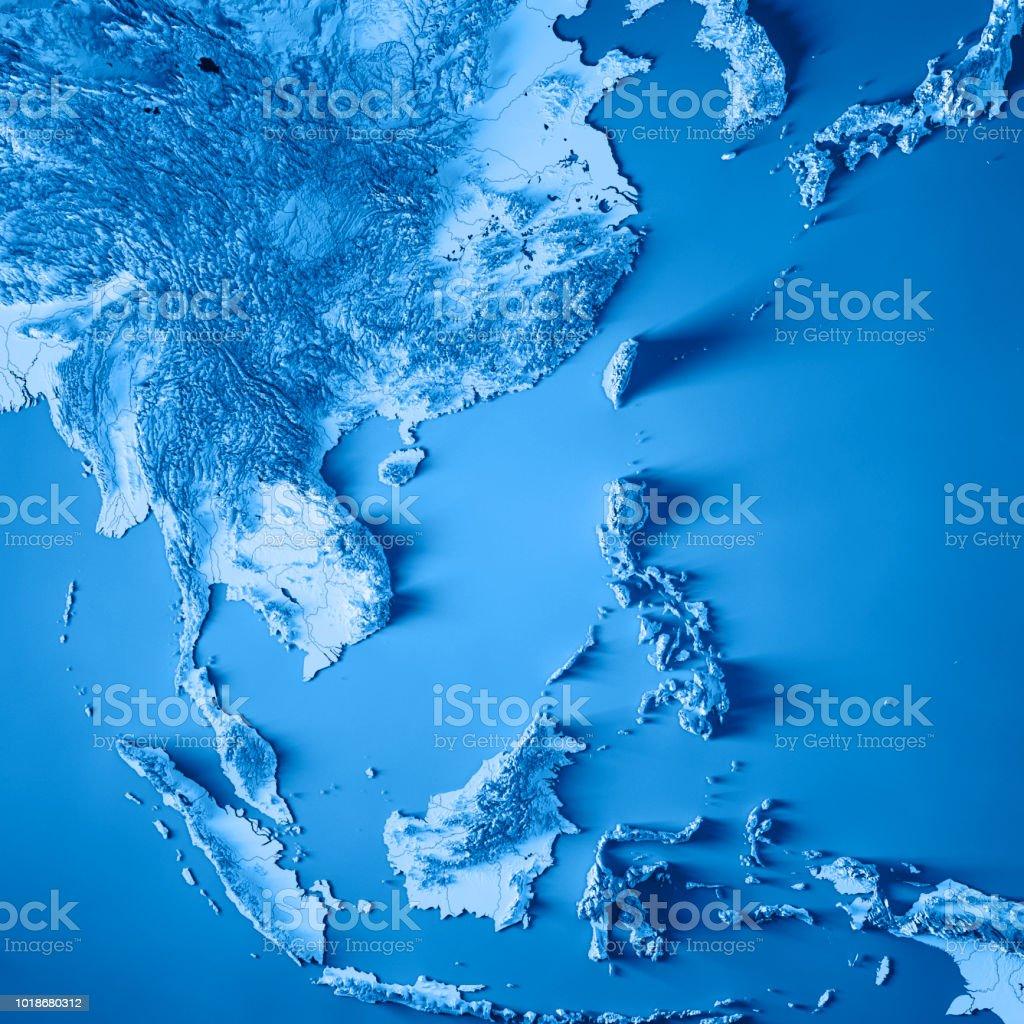Ost-Asien 3D-Render Topographische Karte blau – Foto